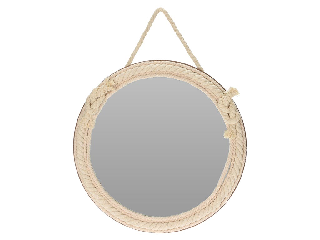 Round Wall Mirror with rope in beige shade diameter 35.5cm, Wall Mirror    Wall Mirrors - hellas tech   Offers every day